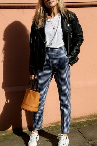pants tumblr printed pants gingham sneakers white sneakers t-shirt white t-shirt jacket black jacket black leather jacket leather jacket bag brown bag necklace gold necklace jewels jewelry gold jewelry