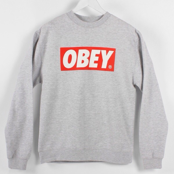 Mens Obey Print Jumper Sweatshirt Pullover Grey Size Small | eBay