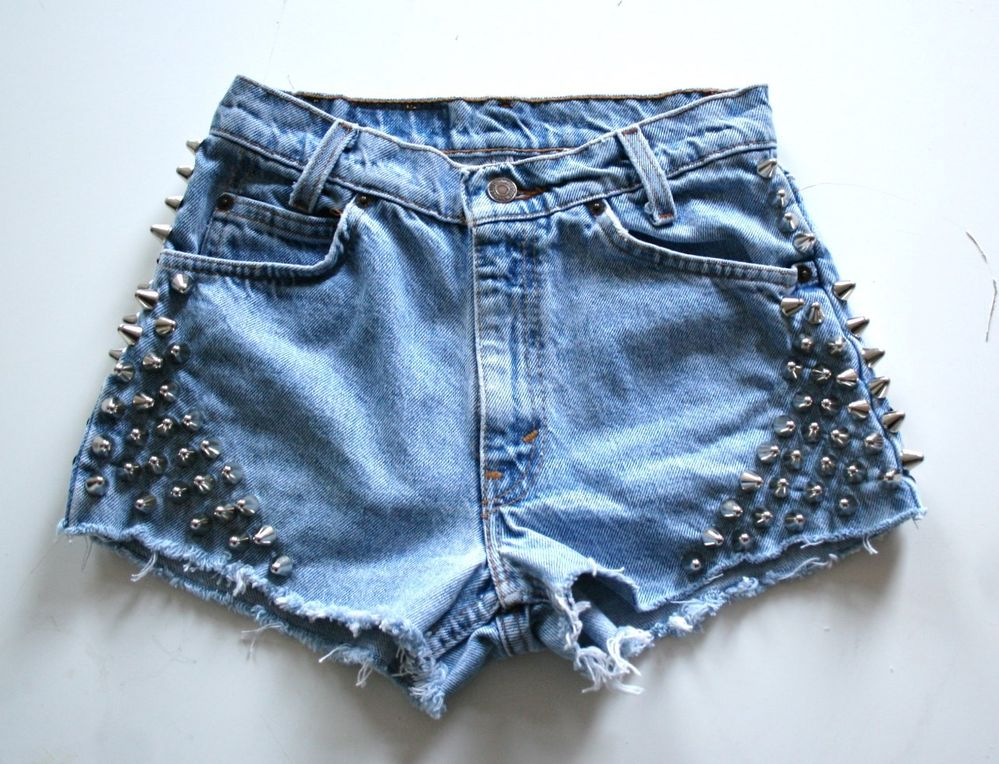 Spike Studded Vintage Levis Shorts Mid Blue Denim Grunge Silver Levi UK 8 W29 | eBay