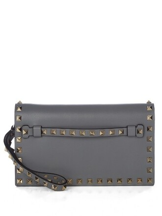 leather clutch clutch leather light grey bag