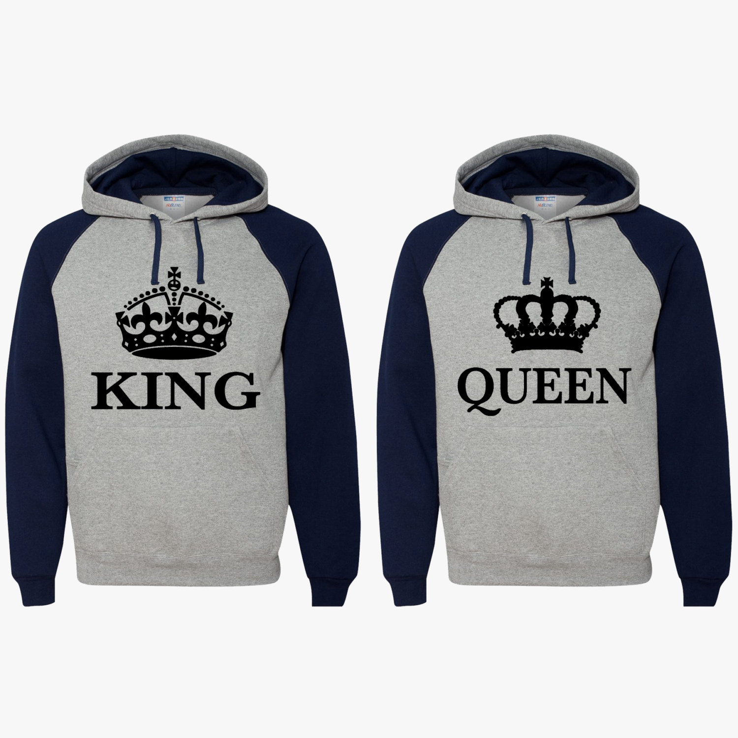 king queen hoodies couple matching hooded sweatshirts. Black Bedroom Furniture Sets. Home Design Ideas