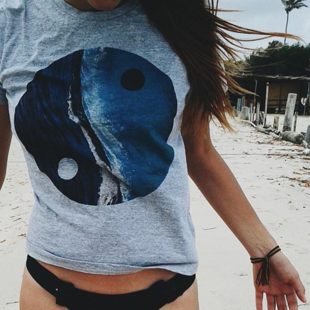 t-shirt yin yang yin yang tshirt yin yang shirt ocean ocean shirt ocean design sea beach grey t-shirt