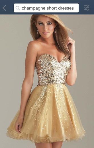 dress gold champagne short dress