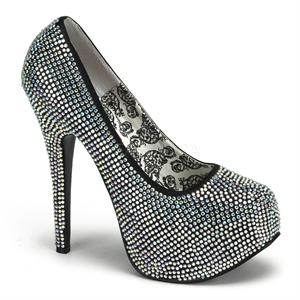 Teeze-06R Pewter Rhinestone Pumps | Pewter Bordello Shoes, Rhinestone Platform High Heels