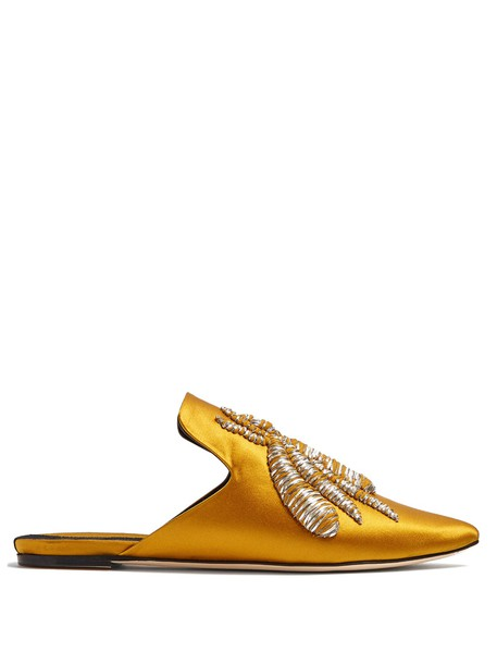 SANAYI 313 embroidered shoes satin gold