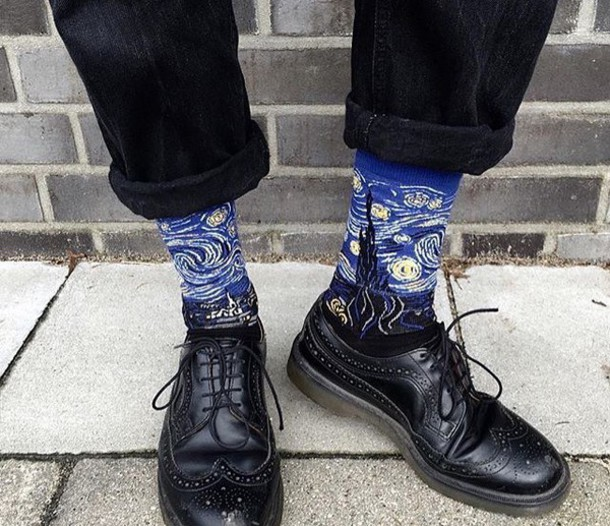 Socks van gogh soft grunge drmartens shoes art - Wheretoget