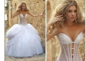 wedding dress bridal dresses white dress blonde hair sexy girl wife mac cosmetics stylish eve princess wedding dresses princess dress princess pink