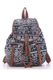 bag,girly,girl,girly wishlist,backpack,black and white,elephant print,tribal pattern