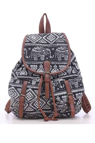 bag girly girl girly wishlist backpack black and white elephant print tribal pattern
