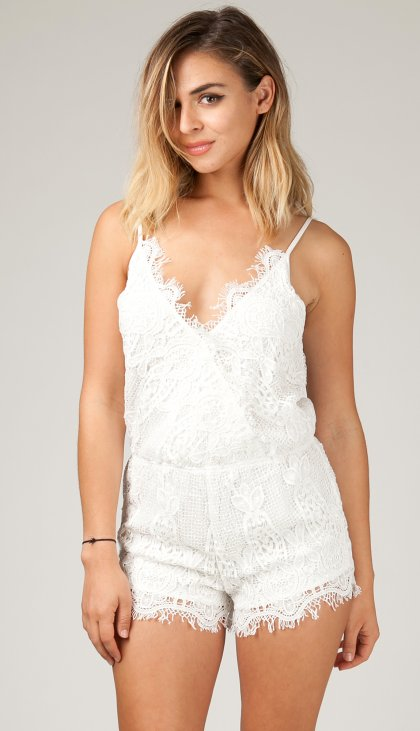 All lace crossover cami romper