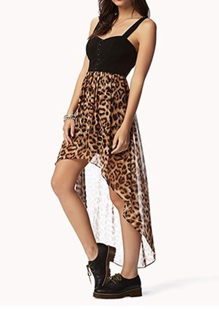 Leopard Print Corset High Low Chiffon Maxi Dress Stretch Lining High Quality | eBay