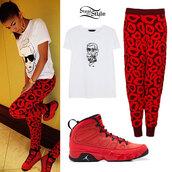 pants,red pants,shoes,jordans,leggings,oversized t-shirt,t-shirt,shirt,zendaya,print,printed pants,sweatpants,red,clothes,424159,lepoard print,jeggings,zendaya joggers,blouse