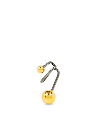 cuff ear cuff gold black jewels