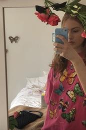 shirt,pink butterfly