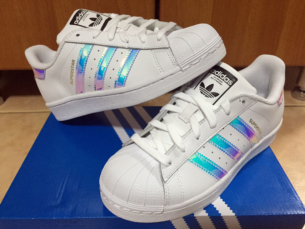 7857fe7d858 Adidas Superstar White Hologram Iridescent GS Sz 3.5-7y Boys Girls Women  AQ6278 .