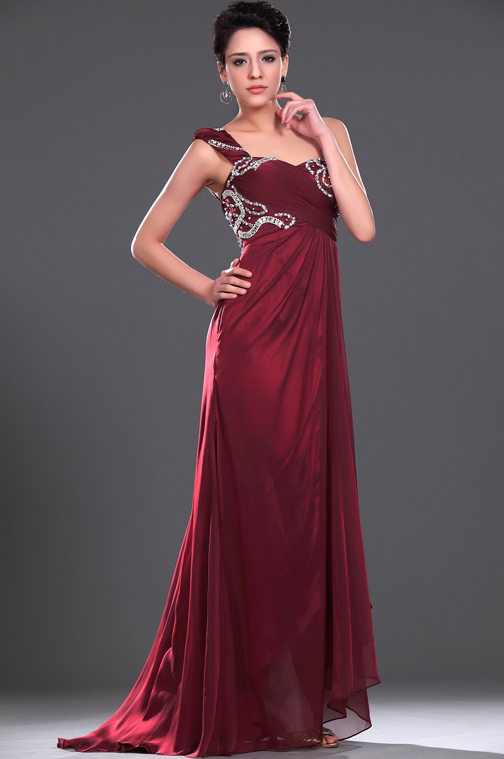 Burgundy One Shoulder Floor Length Chiffon Sheath Column Cocktail Dress With Pleating Oet0141