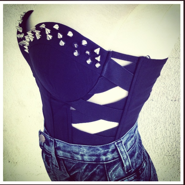 Black Studded Bustier Crop from Belle La Vie Boutique on ...