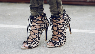 shoes high heels high heel sandals open toes strappy heels animal print animal print heels animal print high heels lace up heels blogger heels