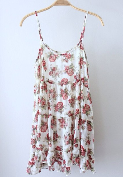 dress cute dress short dress floral dress loose dress flower pattern spaghetti strap love junky