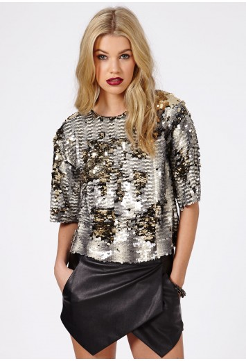 Abele Sequin Top - Tops - Going Out Tops - Missguided