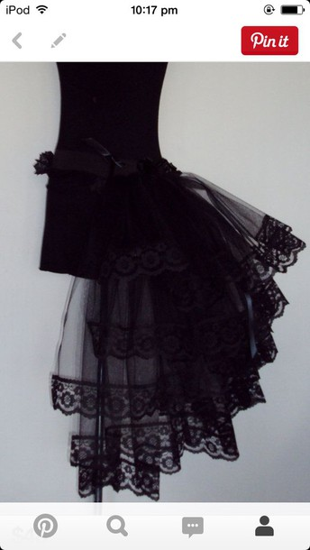 skirt black lace tulle skirt burlesque high low bustle