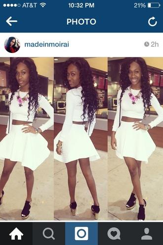 top rock that all white when i'm feeling godly madeinmoirai reginae party white cute instagram @amourjayda amourjayda skirt necklace