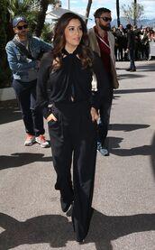 shoes,pants,all black everything,cannes,eva longoria,blouse,jumpsuit