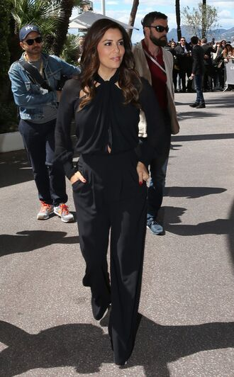 shoes pants all black everything cannes eva longoria blouse jumpsuit