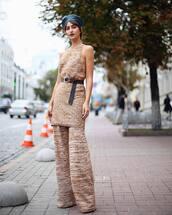 dress,sleeveless dress,mini dress,knitted dress,belt,wide-leg pants,knit,beret