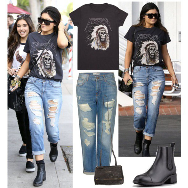jeans kylie jenner yeezus ripped jeans t-shirt ripped jeans sunglasses
