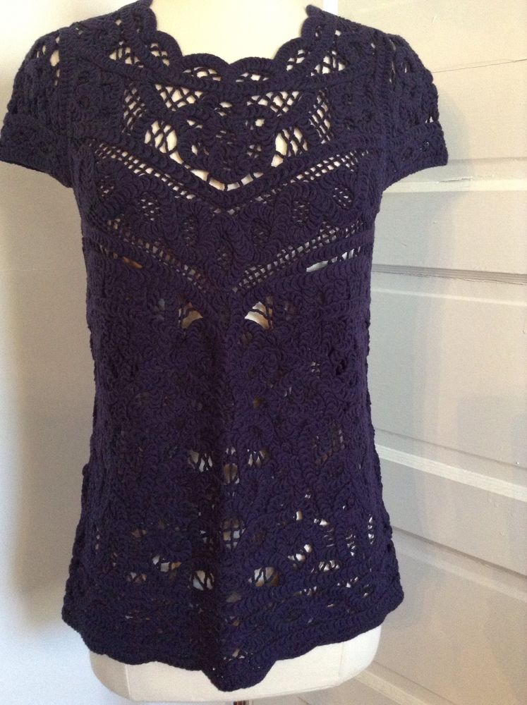 Lilly pulitzer jamie crochet lace sweater m navy