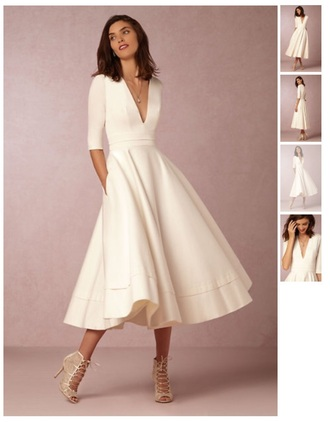 dress white dress white tea length dresses wedding reception dresses reception gowns midi dress