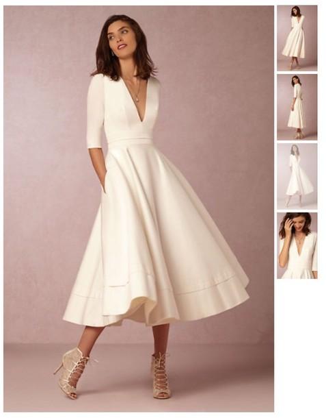 dress, white dress, white, tea length dresses, wedding reception ...