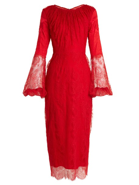 Emilio De La Morena dress lace dress lace silk red