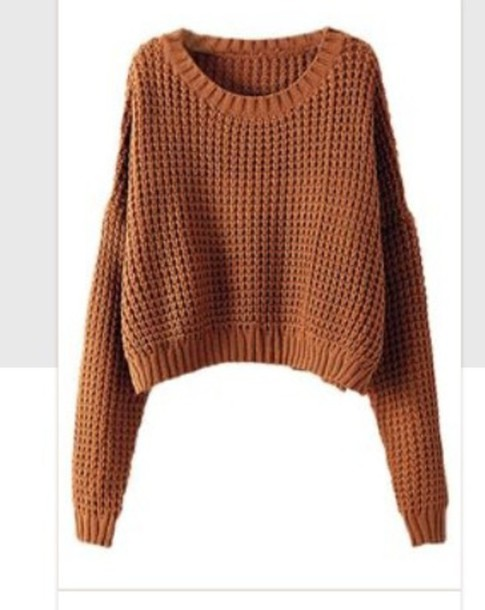 Sweater: brown, cropped sweater, crop tops, knitted sweater ...