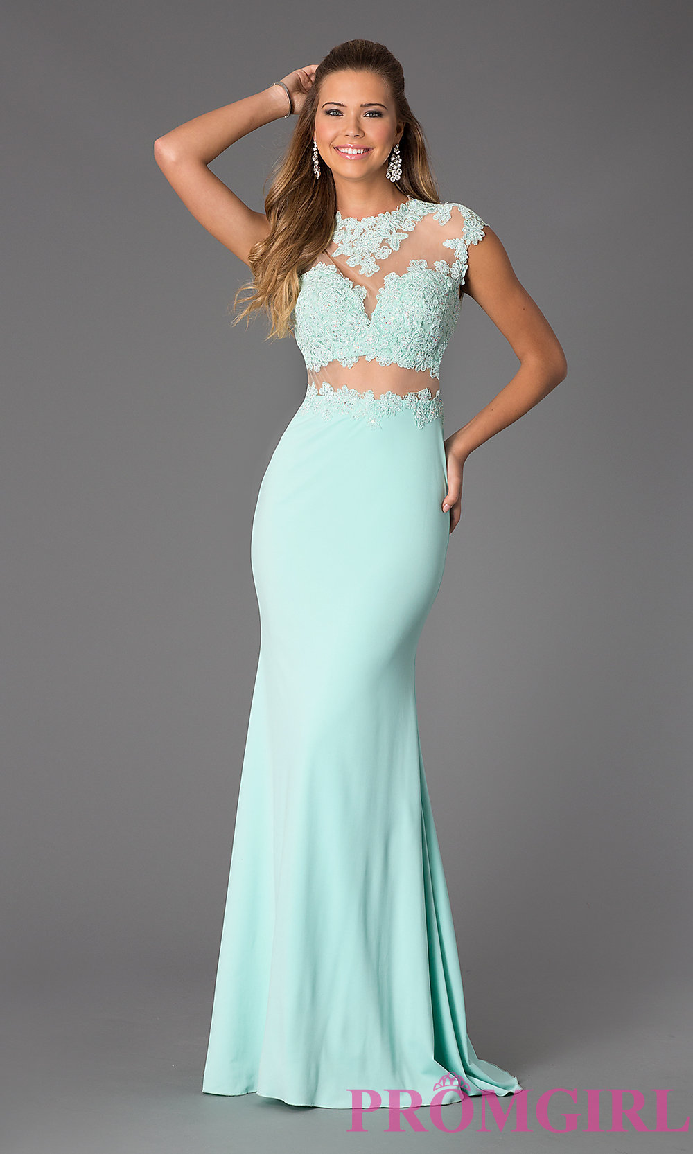 and Lace Floor Length JVN by Jovani Dress