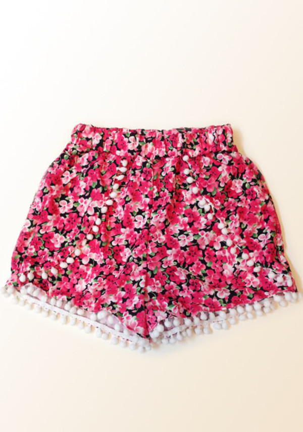 shorts floral summer flowers pink girly