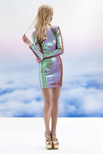 dress color changing party dressy holo glitter sparkle holographic party dress space grunge space new year's eve purple dress green dress pumps iridescent simplynailogical long sleeve dress long sleeves nastygal spring dress shiny bare legs