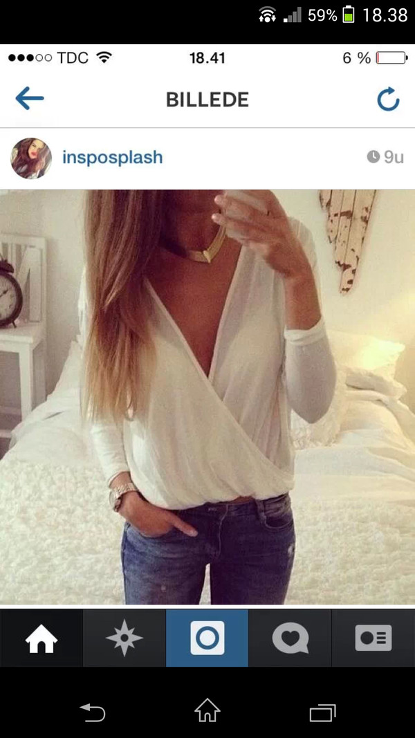 blouse white deep vneck