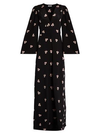 gown print silk black dress