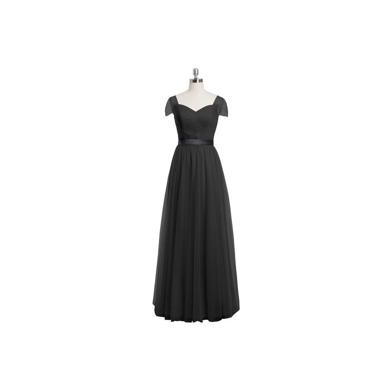 Black Azazie Maureen - Back Zip Tulle And Charmeuse Floor Length Sweetheart Dress - Simple Bridesmaid Dresses & Easy Wedding Dresses