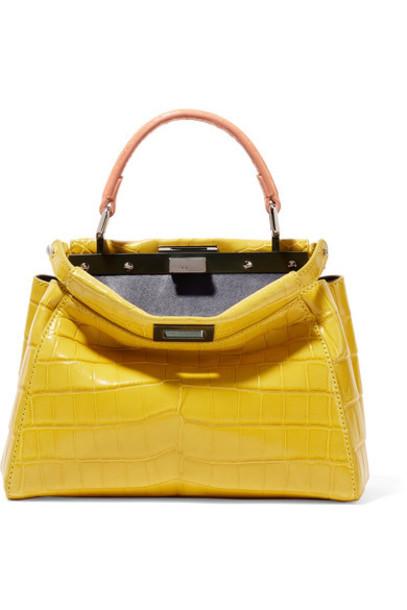 Fendi mini bag shoulder bag yellow crocodile