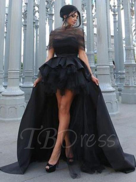 dress black dress fancy high low dress
