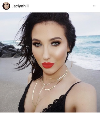 jewels jewelry necklace choker necklace layered gold gold jewelry gold necklace gold choker jaclyn hill blogger instagram accessories