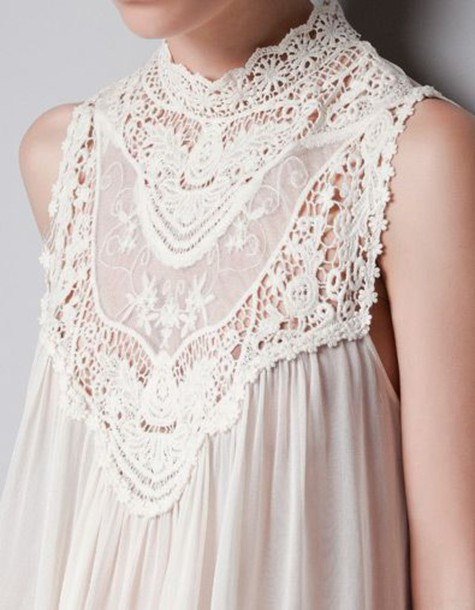 Blouse: lace, victorian, high neck, dress, top, cream, beige, nude ...