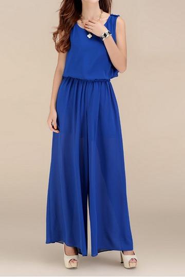 Fashion Wide Leg Chiffon Jumpsuit [FJCF0058] - PersunMall.com