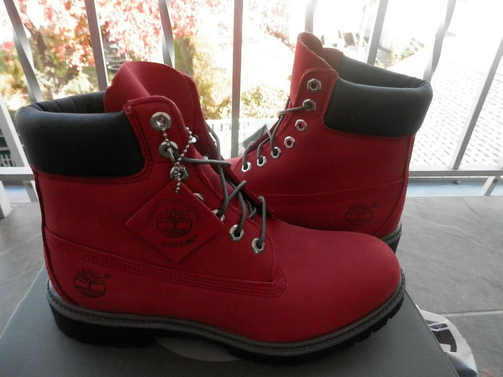 74ac889ec1a TIMBERLAND Mens 6 IN PREMIUM October Ruby RED Villa Boots Authentic Kanye  Rare