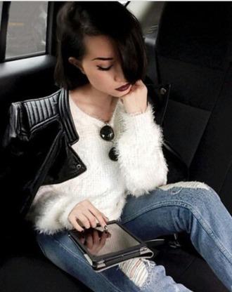 sweater white fuzzy soft sweater warm cute