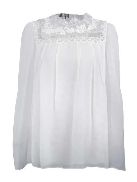 GIAMBATTISTA VALLI blouse embroidered lace white top