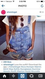 jeans,t-shirt,jumpsuit,blue denim